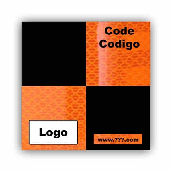 Personalized Reflective Sticker Survey Target 50mm x 50mm (2 inch) Orange