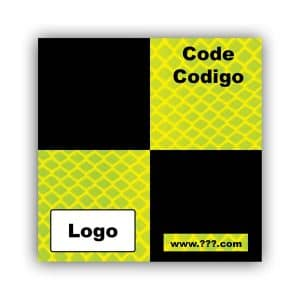 Personalized Reflective Sticker Survey Target 50mm x 50mm (2 inch) yellow