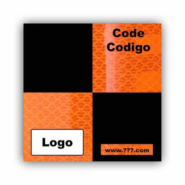 Personalized Reflective Sticker Survey Target 75mm x 75mm (3 inch) Orange