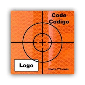 Personalized Reflective Sticker Survey Target (cross) 50mm x 50mm (2 inch) Orange