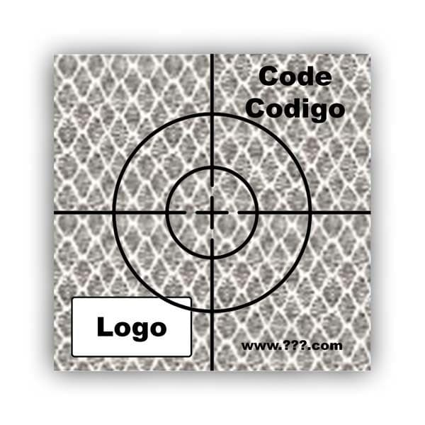 Personalized Reflective Sticker Survey Target (cross) 50mm x 50mm (2 inch) White