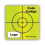 Personalized Retro Reflective Target (cross) 50mm x 50mm (2 inch) yellow