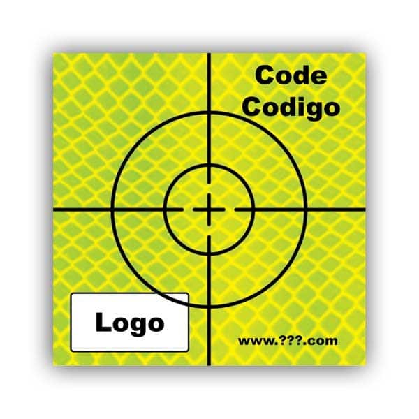 Personalized Reflective Sticker Survey Target (cross) 50mm x 50mm (2 inch) yellow