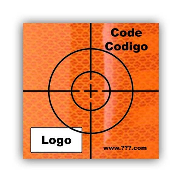 Personalized Reflective Sticker Survey Target (cross) 60mm x 60mm (2.5 inch) Orange