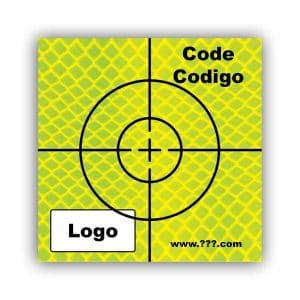 Personalized Reflective Sticker Survey Target (cross) 75mm x 75mm (3 inch) yellow