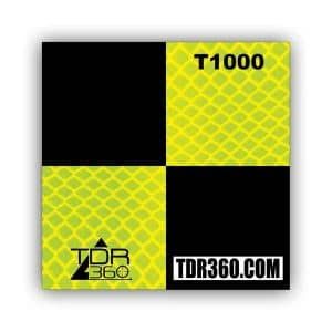 Reflective survey target sticker 75mm x 75mm (3 inch) yellow