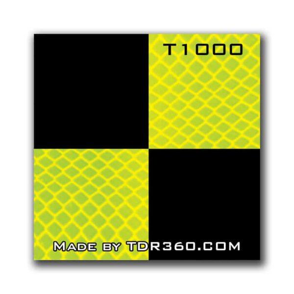 Cible réfléchissante d'arpentage autocollante 25mm x 25mm (1″x1″) – jaune