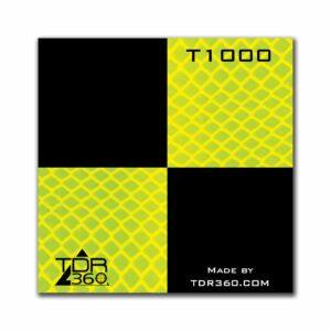 Cible réfléchissante d'arpentage autocollante 60mm x 60mm (2.5″x2.5″) – jaune