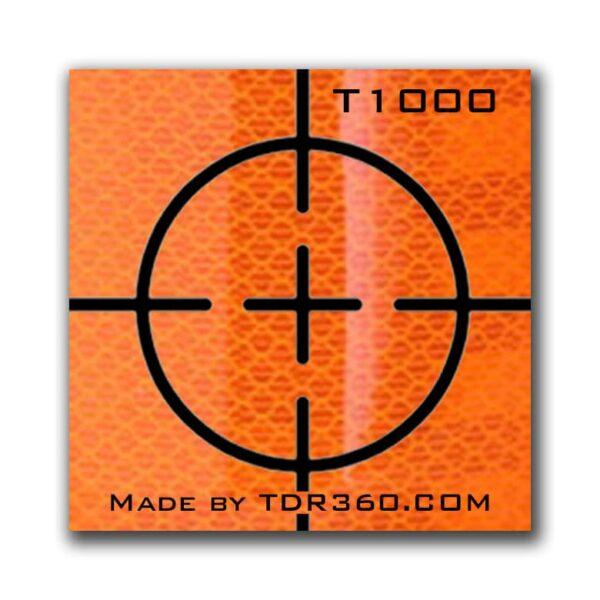 Cible réfléchissante d'arpentage autocollante (croix) 25mm x 25mm (1″x1″) – orange