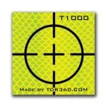 Retro Reflective survey target sticker Cross 25mm x 25mm (1 inch) yellow