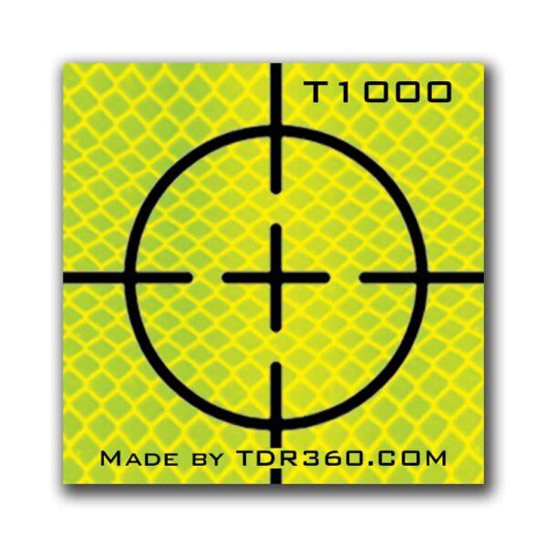 """Cible réfléchissante d'arpentage autocollante (croix) 25mm x 25mm (1""""x1"""") - jaune"""